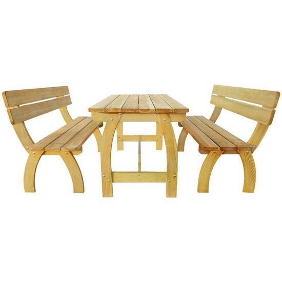 shumee Pivný stôl s 2 lavicami, impregnovaná borovica
