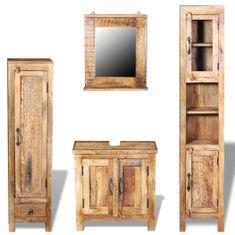 shumee Skrinka so zrkadlom a 2 bočnými skrinkami, masívne mangové drevo