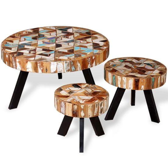 shumee 3-részes tömör újrahasznosított fa dohányzóasztal-garnitúra