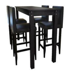 shumee Barový stôl so 4 barovými stoličkami, čierny