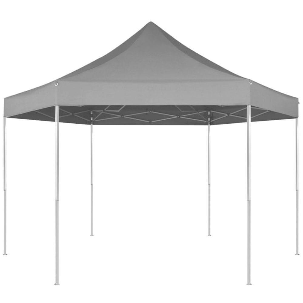 Šestiúhelníkový vyskakovací skládací party stran šedý 3,6x3,1 m