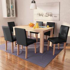 shumee Jedilna miza in stoli 7 delni komplet umetno usnje hrast črn