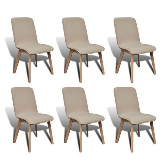 Greatstore Jedilni stoli 6 kosov bež blago in trdna hrastovina