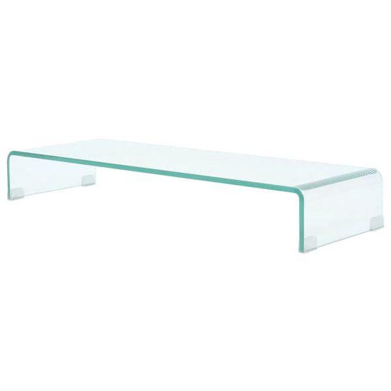 shumee Stojalo za TV/Računalniški Zaslon Prosojno Steklo 90x30x13 cm