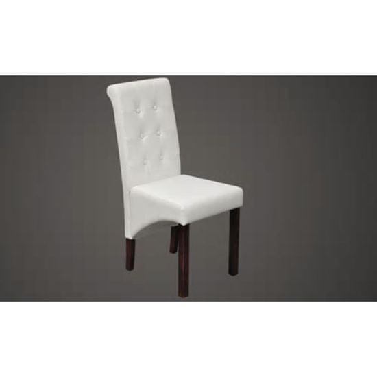 shumee Jedilni stoli 2 kosa belo umetno usnje