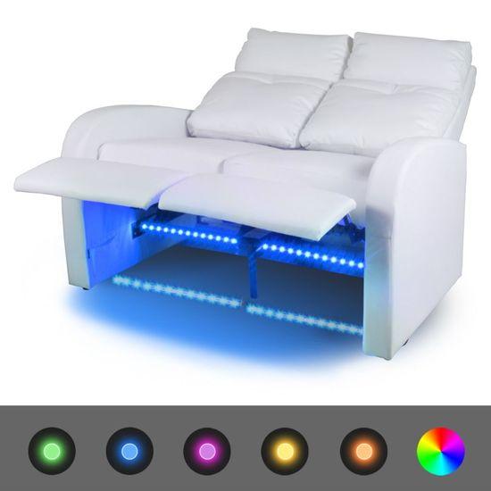 shumee Fotele kinowe 2 osobowe, biała, sztuczna skóra
