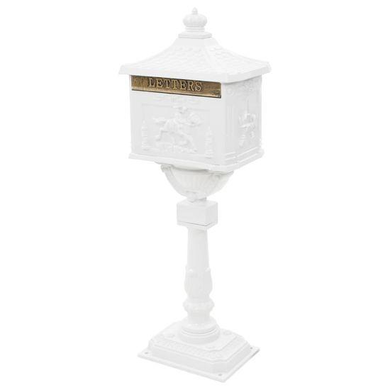 shumee Poštni nabiralnik s podstavkom starinski stil aluminij bel