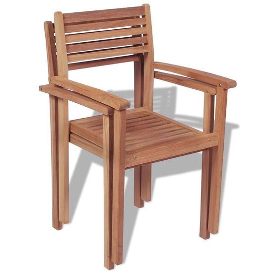 shumee Krzesła ogrodowe sztaplowane, 2 szt., lite drewno tekowe