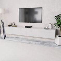 shumee Skrinky pod TV, 2ks, drevotrieska, 120x40x34 cm, vysoký lesk, biele