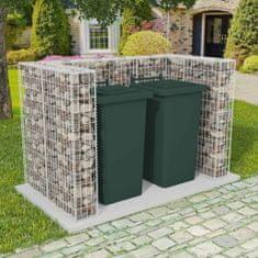 shumee Gabiónová ohrada na dvojitý odpadkový kôš, oceľ 180x100x120 cm