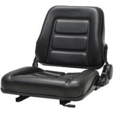 shumee Sedež za viličar in traktor s prilagodljivim naslonjalom črn