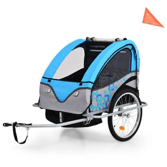 shumee Dětský vozík za kolo a kočárek pro běžce 2v1 modro-šedý