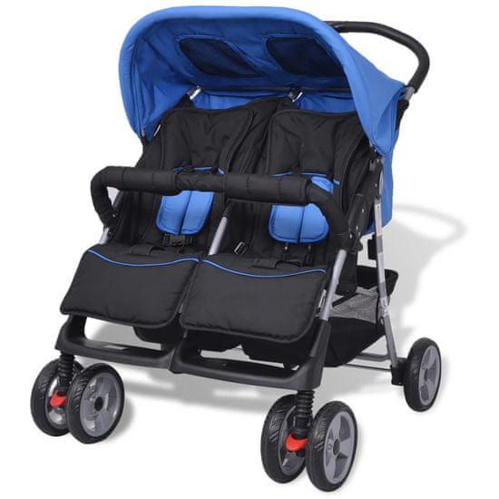 shumee Dvojni otroški voziček jeklo moder in črn
