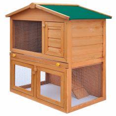 shumee Zunanji zajčnik / hišica za male živali s 3 vrati iz lesa