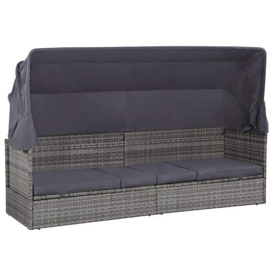 shumee Vrtna postelja s streho poli ratan 205x62 cm siva