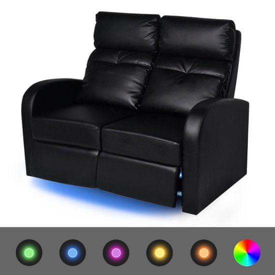 shumee LED Naslanjač Dvosed Umetno Usnje Črne Barve