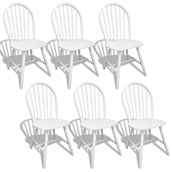 shumee Jedilni stoli 6 kosov beli iz trdnega kavčukovca