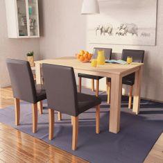 shumee Jedilna miza in stoli 5 delni komplet umetno usnje hrast rjav