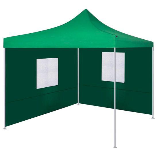 shumee Zložljiv šotor z 2 stenama 3x3 m zelene barve