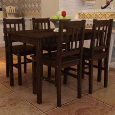 shumee Lesena jedilna miza s 4 stoli rjave barve