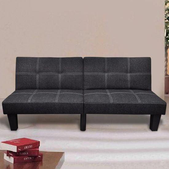 shumee Nastavljiv kavč z ležiščem iz blaga črne barve