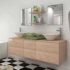 shumee 7-dielna sada kúpeľového nábytku s umývadlom, béžová