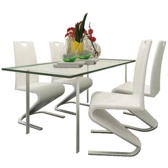 shumee Jedilni stoli 4 kosi belo umetno usnje