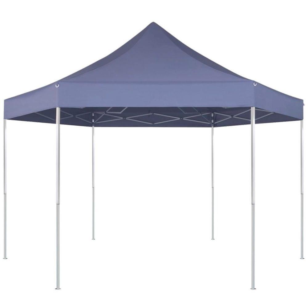 Šestiúhelníkový vyskakovací skládací party stran modrý 3,6x3,1 m