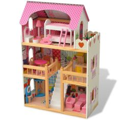 shumee 3-poschodový domček pre bábiky, drevený, 60x30x90 cm