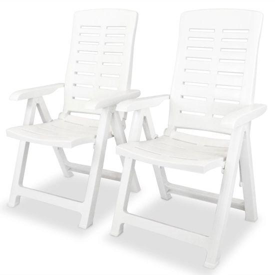 shumee Nastavljivi vrtni stoli 2 kosa plastika bele barve
