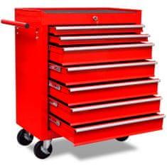 shumee Rdeč delavniški voziček za shranjevanje orodja s 7 predali