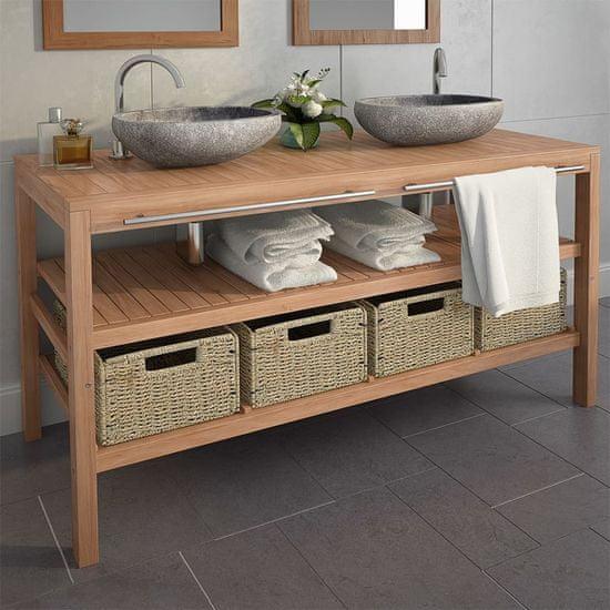 shumee Szafka łazienkowa z kamiennymi umywalkami, lite drewno tekowe