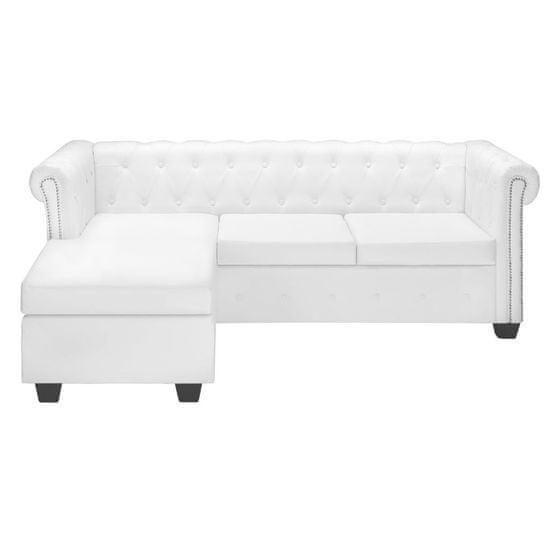 shumee Chesterfield kavč L oblike umetno usnje bele barve