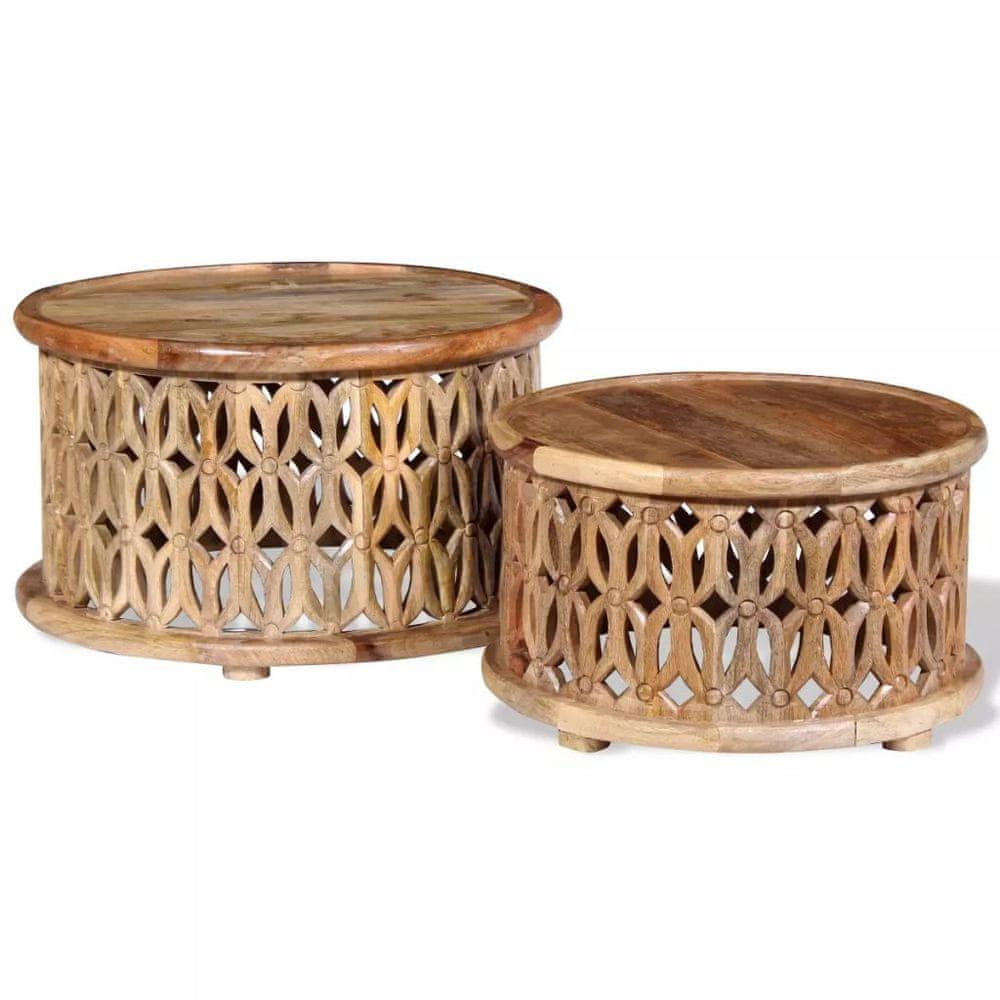 Vidaxl Dva konferenční stolky z masivního mangovníkového dřeva
