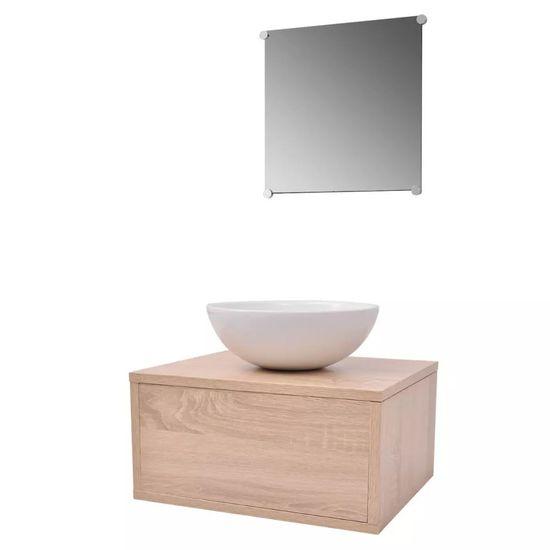 shumee 3 elementowy zestaw mebli łazienkowych beżowych i umywalka