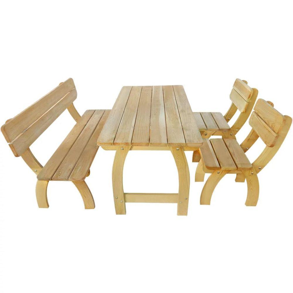 4dílný zahradní nábytek jídelní set impregnovaná borovice
