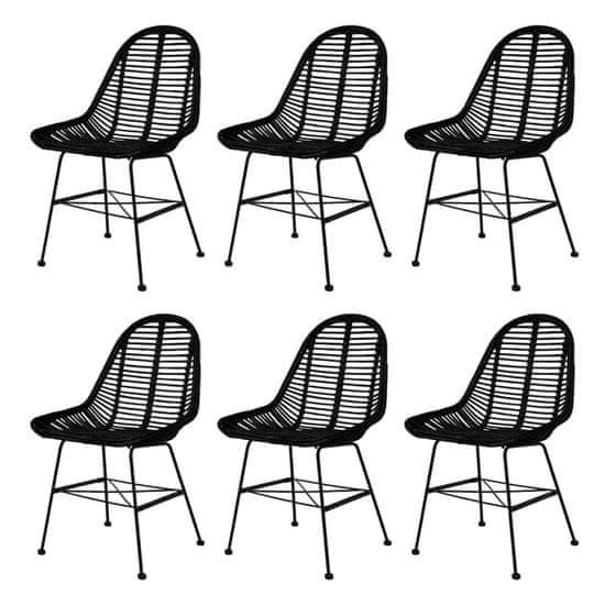 shumee Jídelní židle 6 ks černé přírodní ratan