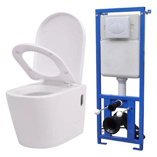 shumee Závěsná toaleta s podomítkovou nádržkou keramická bílá