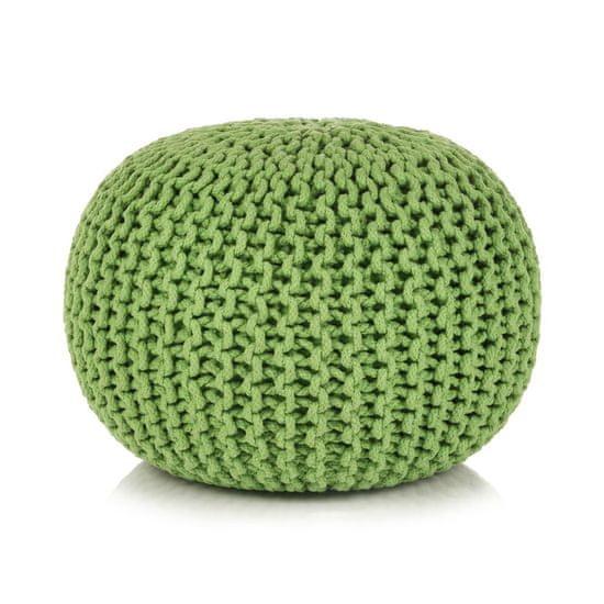 Greatstore Ručne pletená bavlnená taburetka, 50x35 cm, zelená