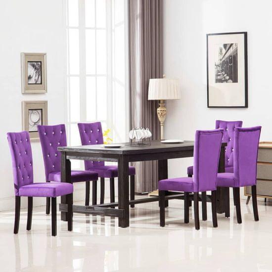 shumee Jedilni stoli 6 kosov vijoličen žamet
