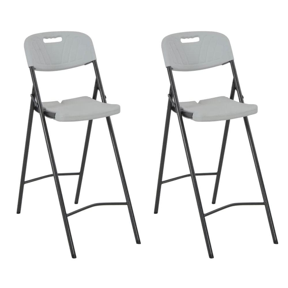 Skládací barové židle 2 ks HDPE a ocel bílé