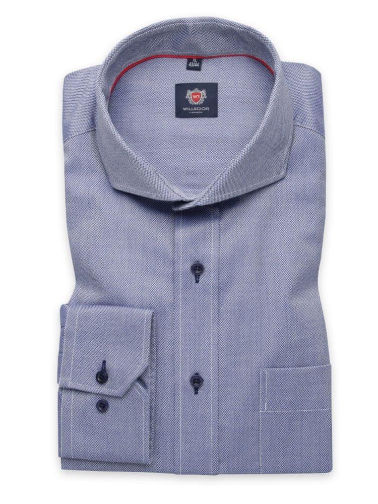 Willsoor Pánská klasická košile London 6328 v modré barvě s úpravou easy care