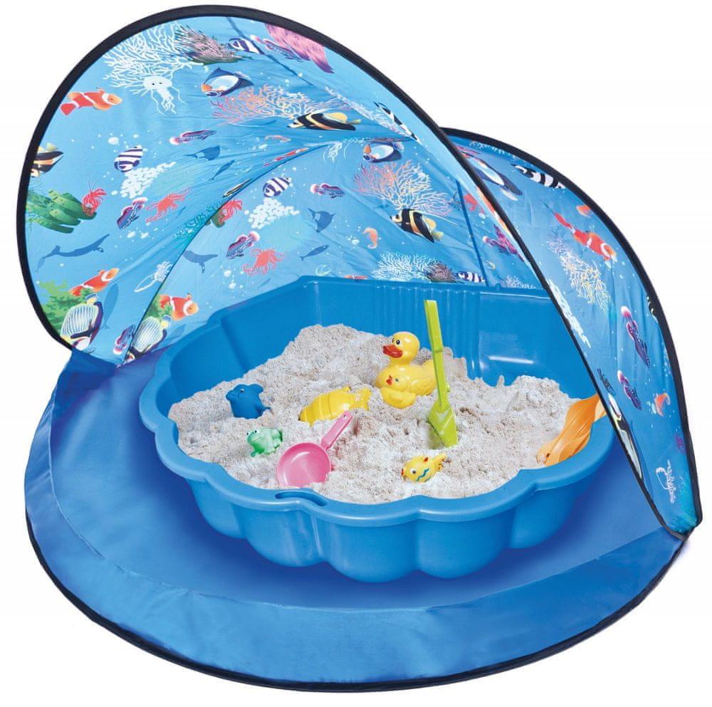 Paradiso Stan s pískovištěm bazénem mušle modrý