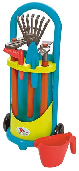 Ecoiffier Vozík se zahradním nářadím a konvičkou modro-zelený