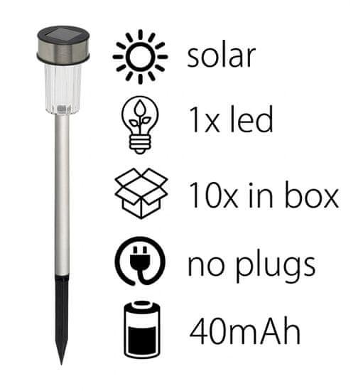 TimeLife Solárna lampa súprava 10 ks v balení 4,8x36 cm nerez oceľ