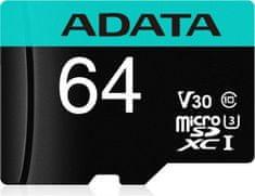 A-Data Premier Pro MicroSDHC spominska kartica, 64 GB, UHS 3, V30, A2 + SD adapter
