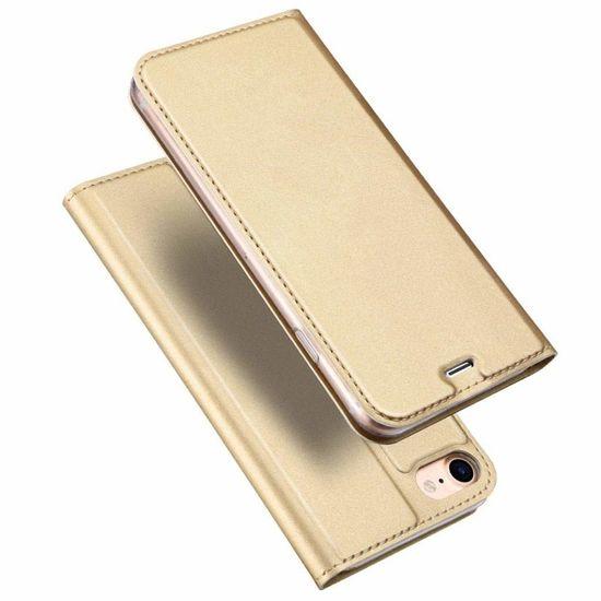 Dux Ducis Skin Pro usnjeni flip ovitek za iPhone 7/8/SE 2020, zlato