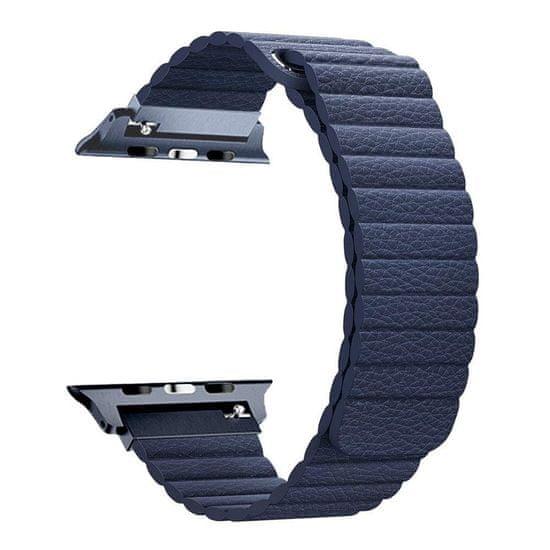 BStrap Apple Watch Leather Loop 42/44mm pašček, Dark Blue