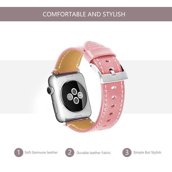 BStrap Apple Watch Leather Italy 38/40mm pašček, Pink
