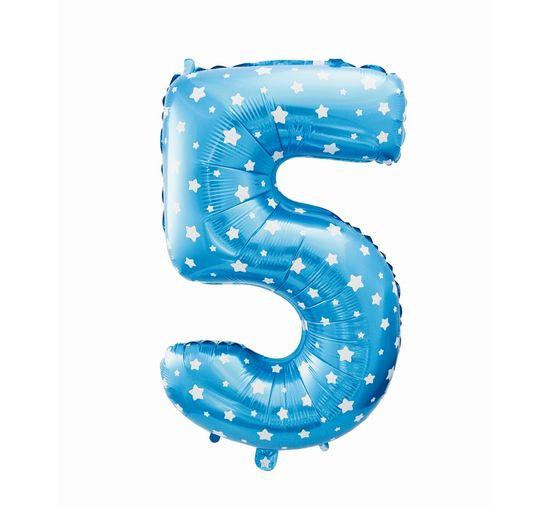 GoDan Folijski balon številka 5 z zvezdami - modra - 65 cm